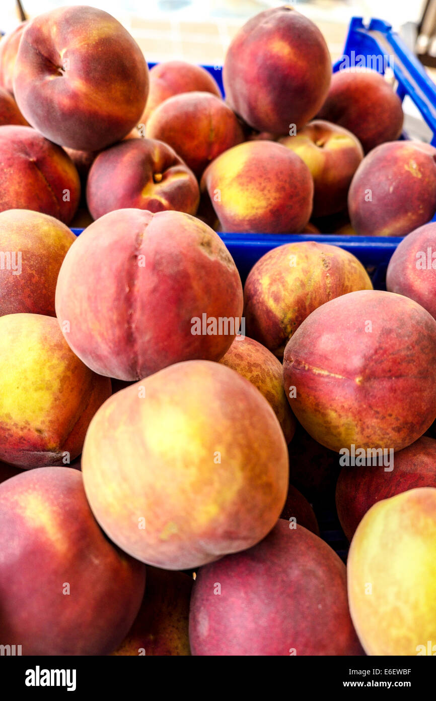 Peaches of Spanish farms during Russian boycott food to UE Stock Photo