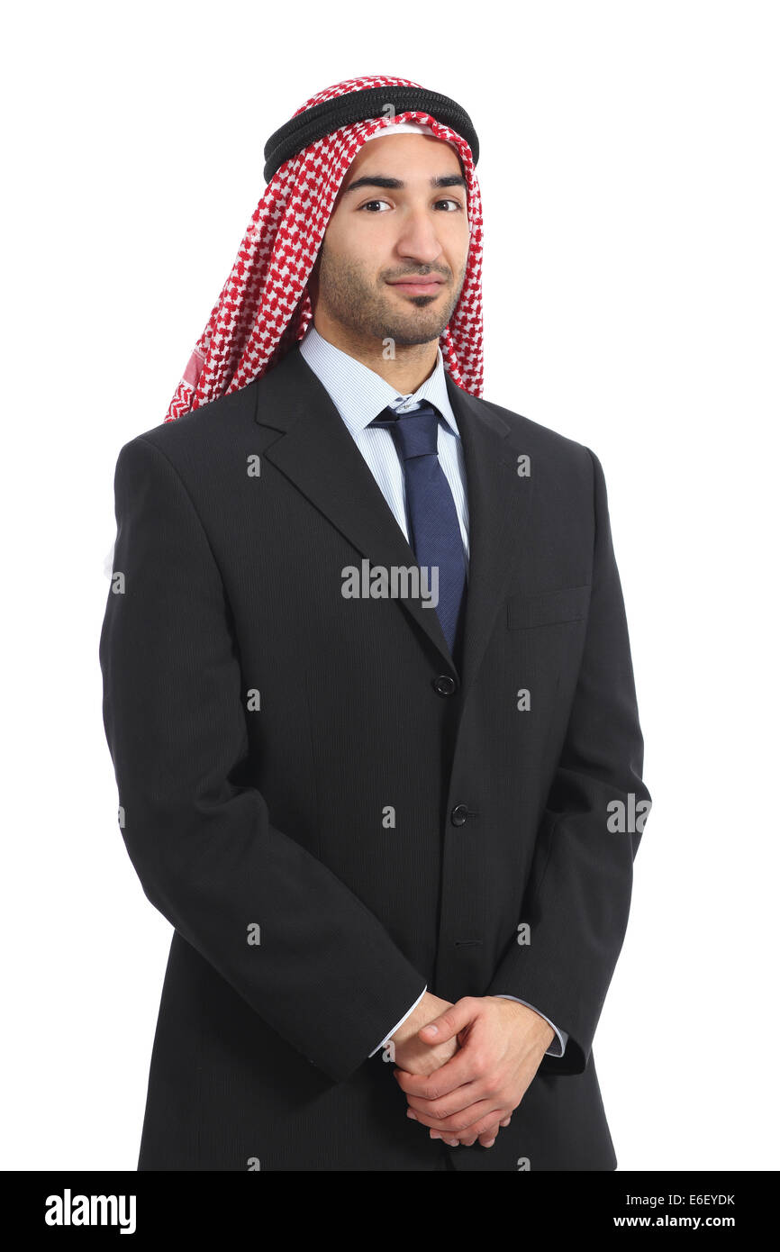 Arab saudi emirates businessman posing serious isolated on a white background Stock Photo