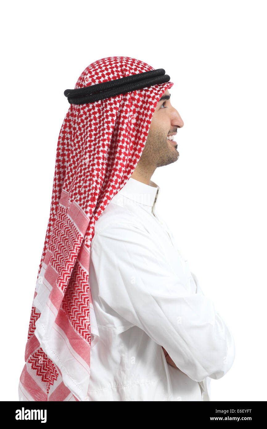 Profile portrait of an arab saudi emirates man isolated on a white background Stock Photo