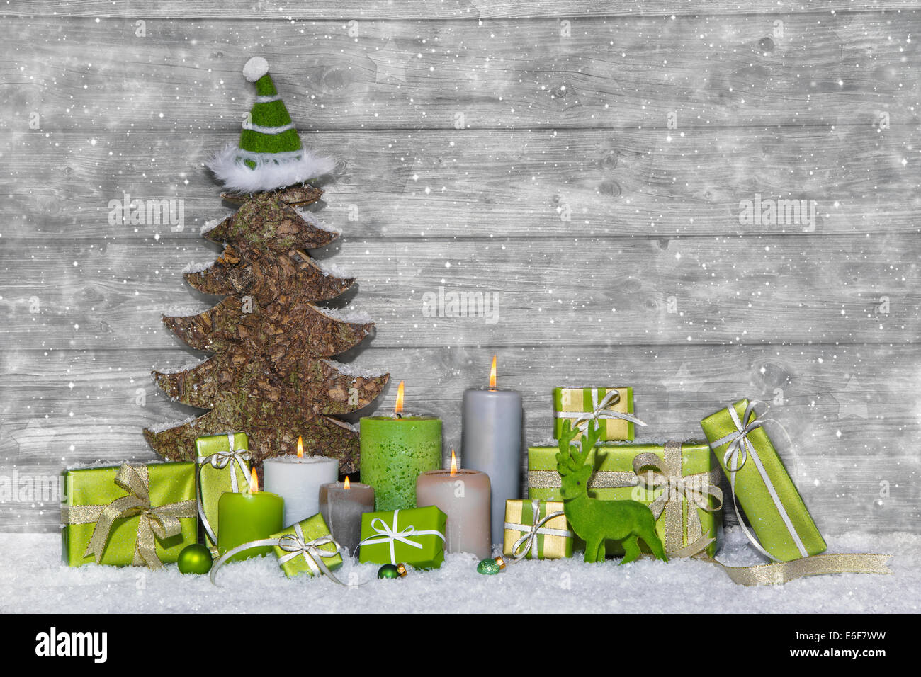 Shabby Chic Green And White Christmas Decoration On Grey Wooden Stock Photo Alamy