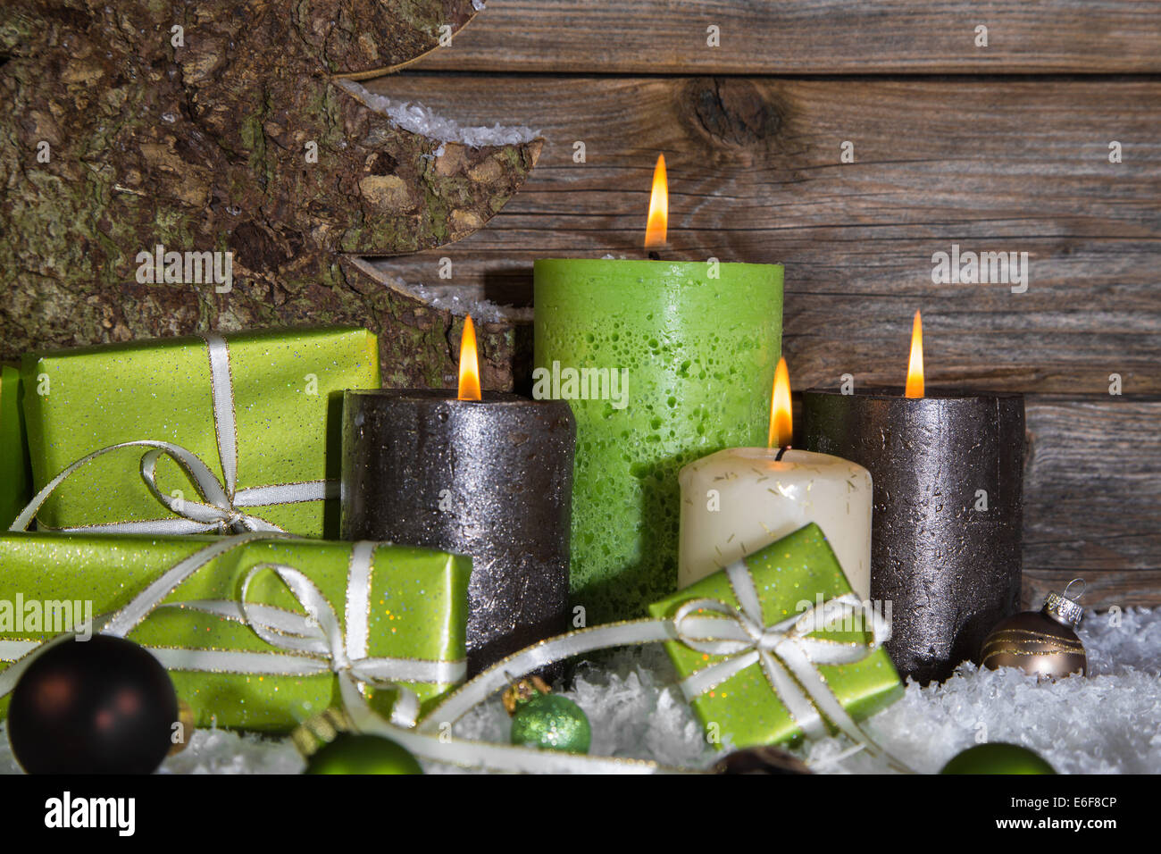 Burning Candles And Present Stock Photos Amp Burning Candles