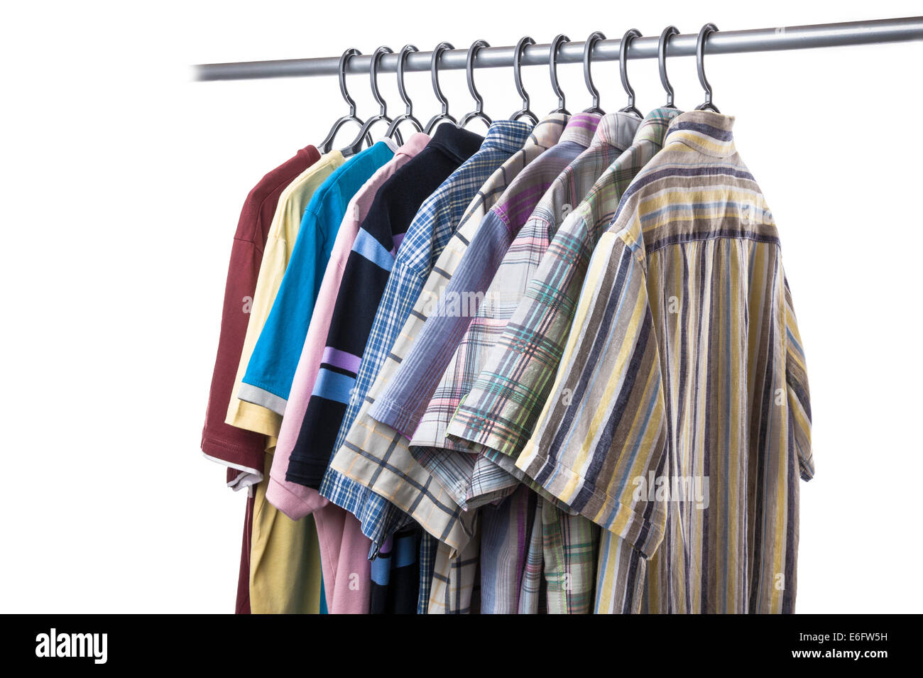Collection of casual,short sleeved shirts , polo and tee shirts. - Stock Image