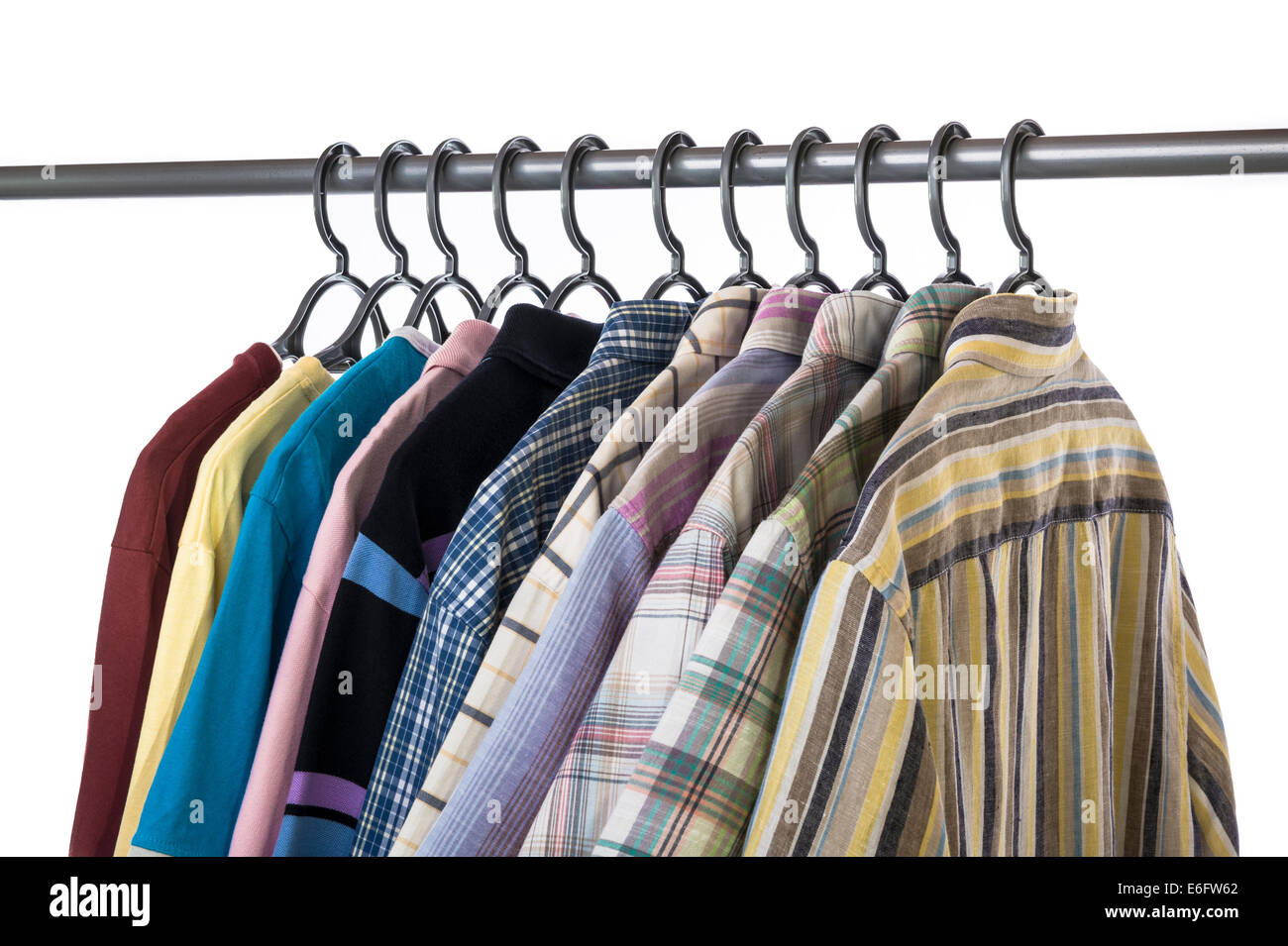 Collection of casual,short sleeved shirts, polo and tee shirts. - Stock Image