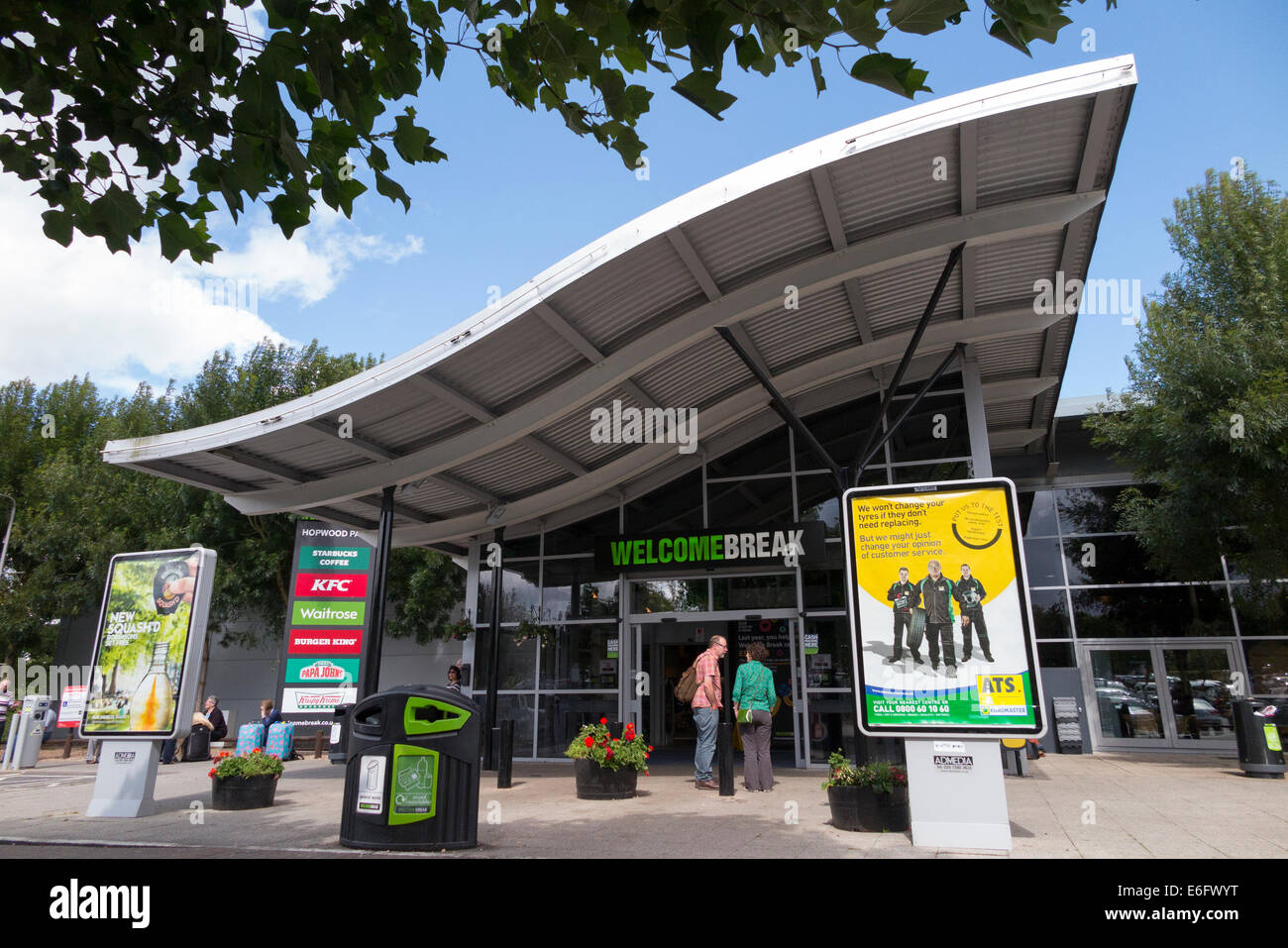 The front of and entrance to the Hopwood Park Welcome Break motorway Services on the M42, south of Birmingham. UK Stock Photo