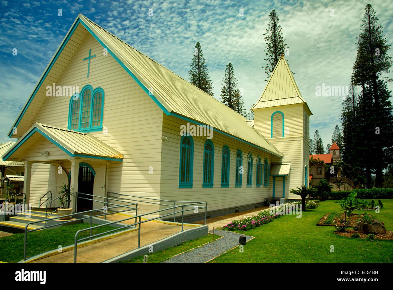 Sacred Hearts Jesus & Mary Catholic Church. Lanai City, Lanai, Hawaii - Stock Image
