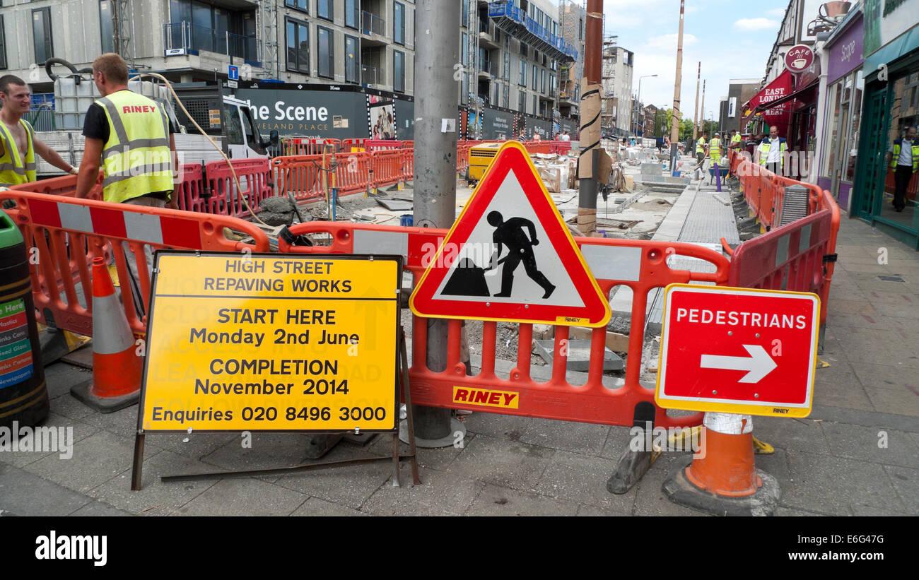 Roadworks signs on Walthamstow High Street Waltham Forest East London E17 UK KATHY DEWITT - Stock Image