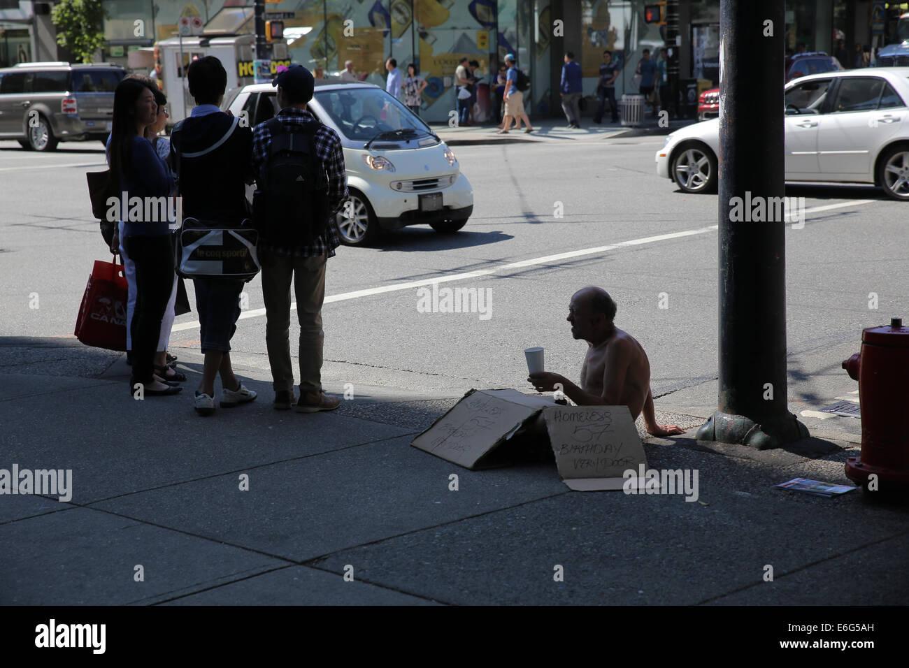 street beggar Vancouver - Stock Image