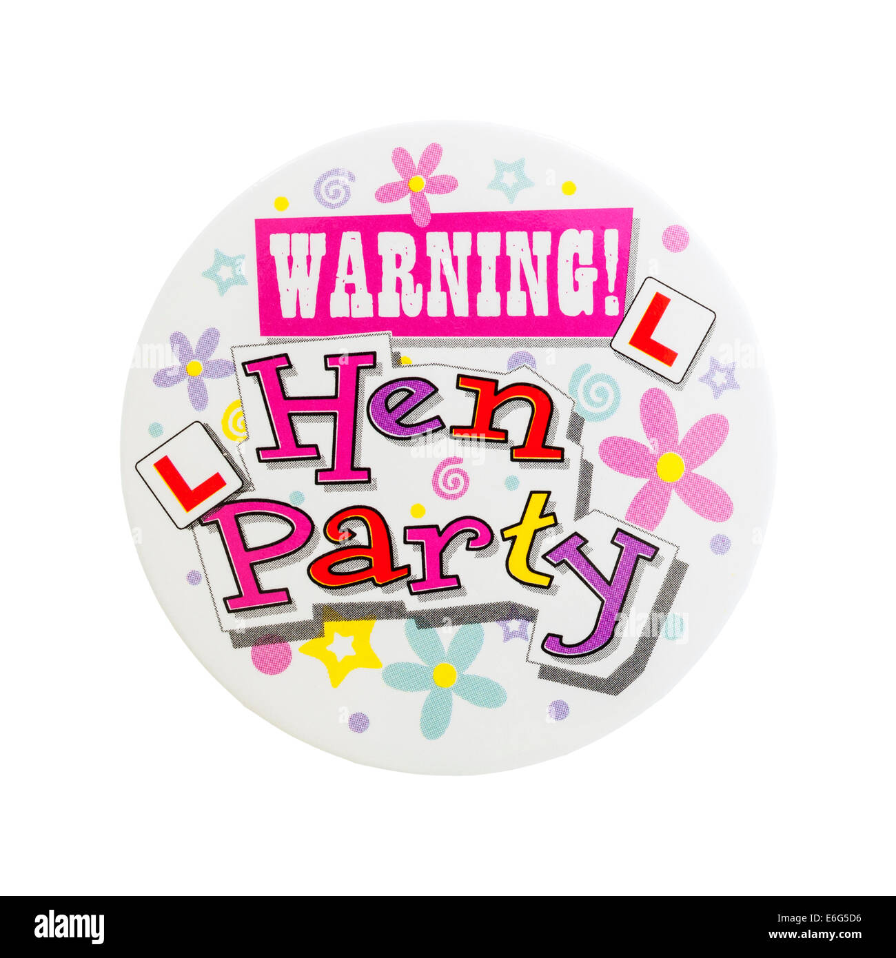 A badge for a hen night on a white background - Stock Image