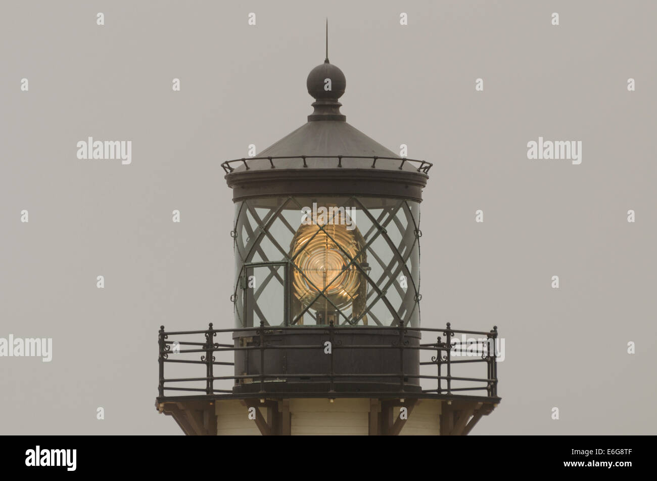 The Point Cabrillo Light Station built in 1909 has a Fresnel Lens with 90 glass prism pieces, is powered by a l000 - Stock Image