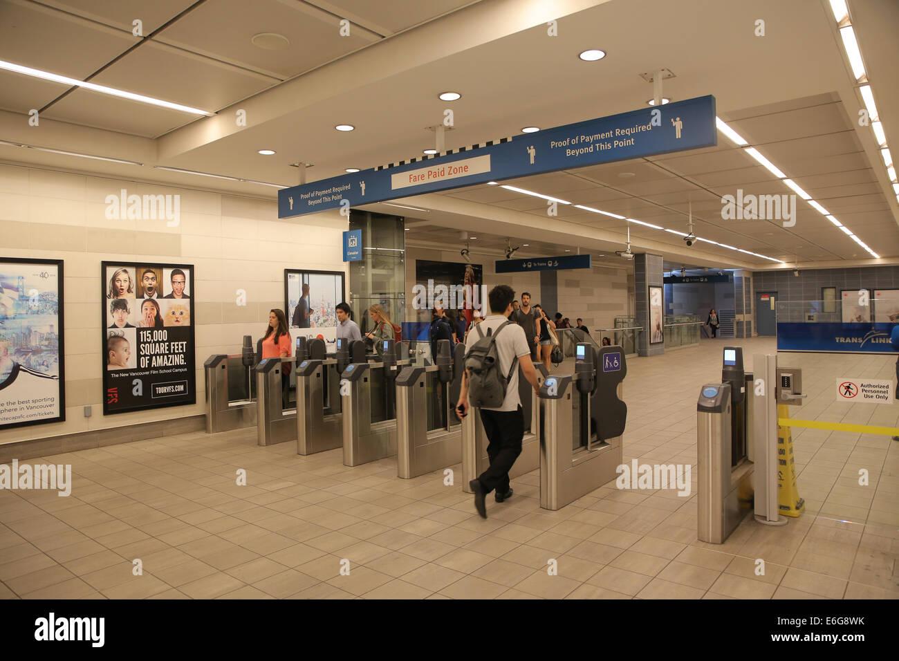 Vancouver skytrain station interior Stock Photo