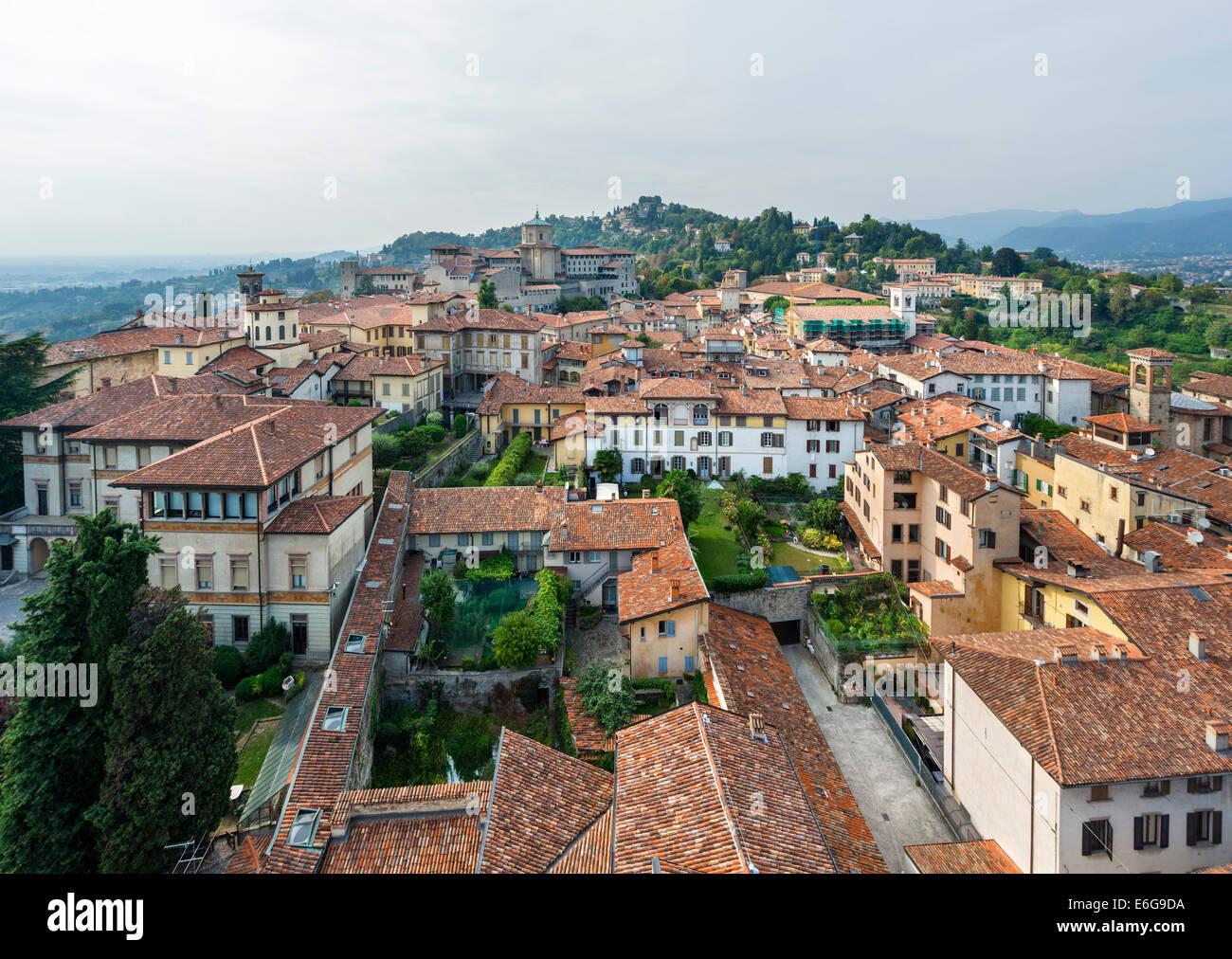 View from Torre Civica (Campanone), Bergamo Alta, Lombardy, Italy Stock Photo