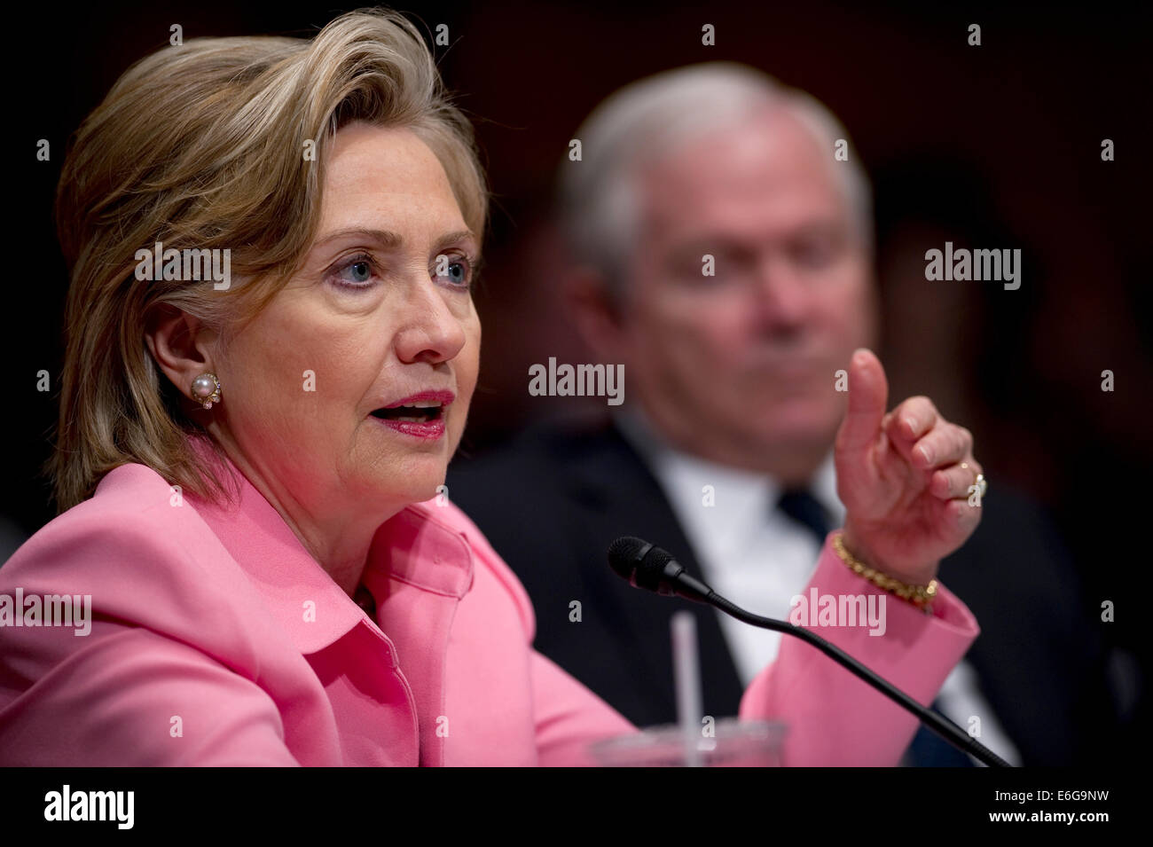 US Secretary of State Hillary Rodham Clinton testifies to the Senate Foreign Relations Committee regarding the U.S. - Stock Image