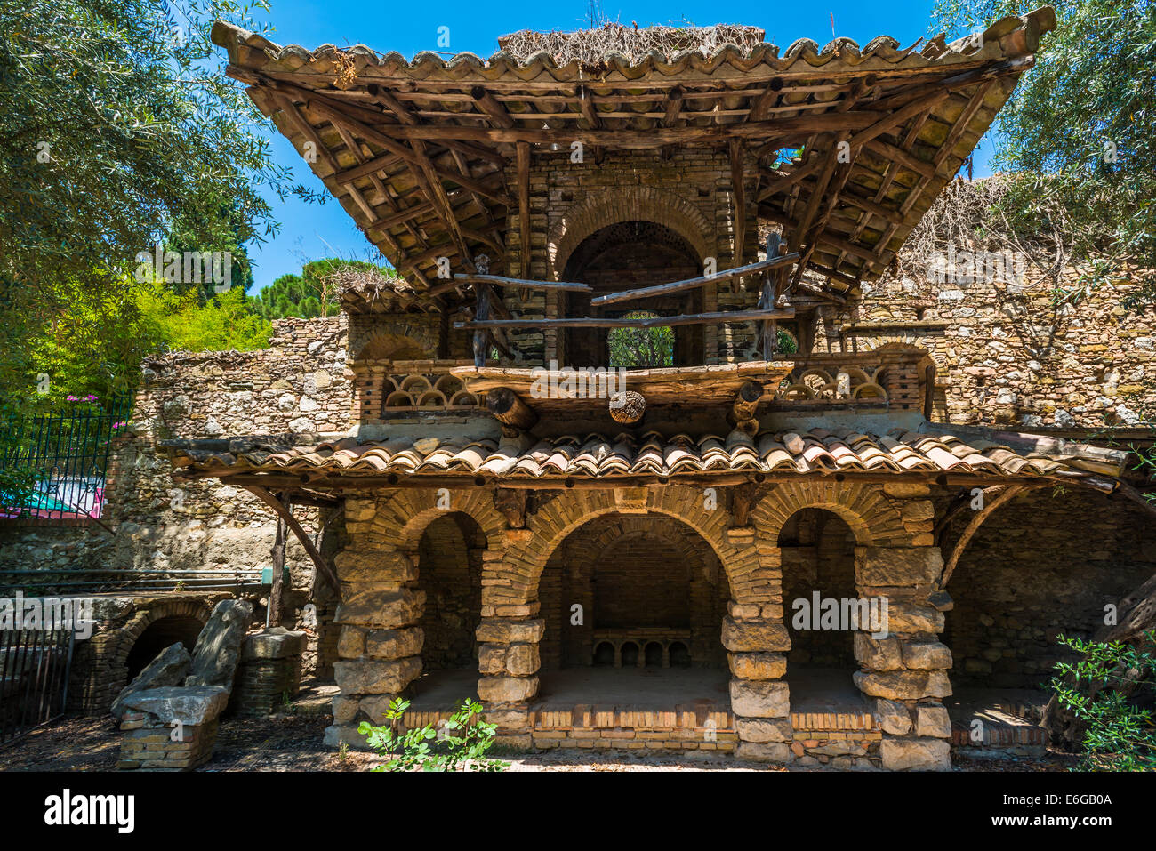 An old stone building in Public gardens in Taormina, Sicily Stock ...