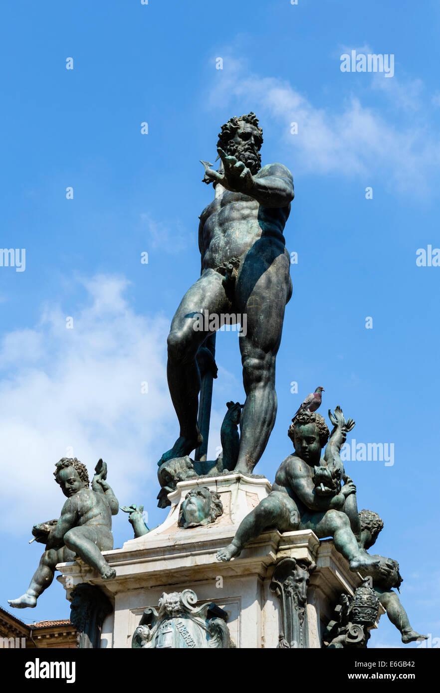 The Neptune Fountain in Piazza del Nettuno, Bologna, Emilia Romagna, Italy - Stock Image