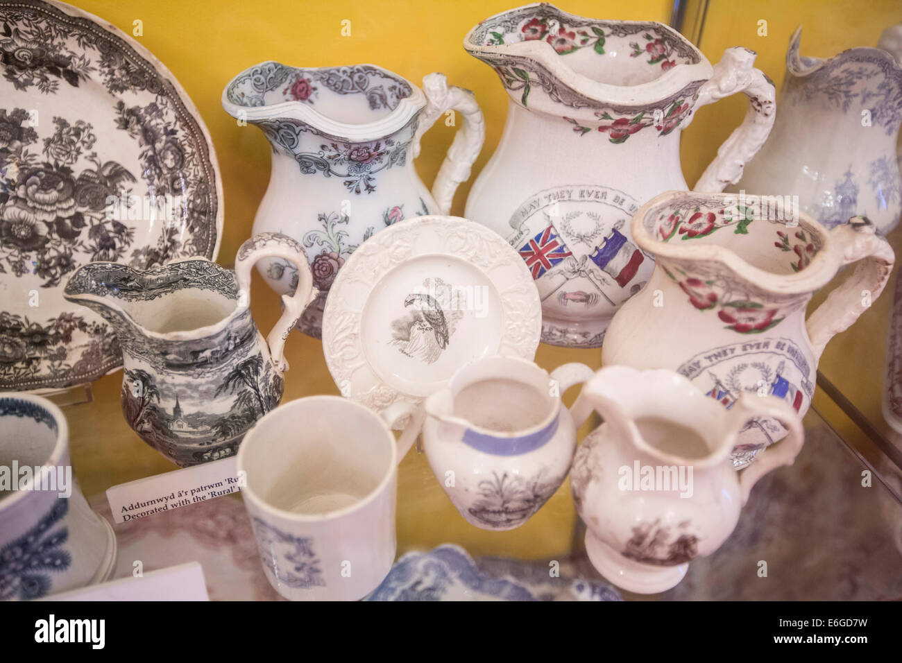 15.01.14 Parc Howard Feature.  A display of Dewsbury China.  Pic by James Davies. - Stock Image