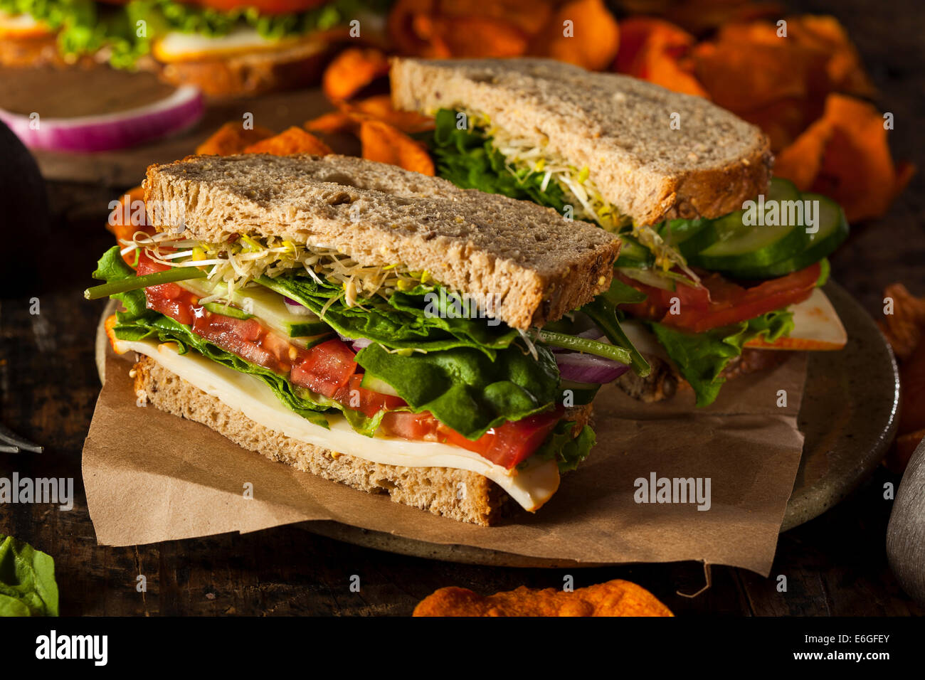 Healthy Vegetarian Veggie Sandwich with Spinach Tomato Cucumber - Stock Image