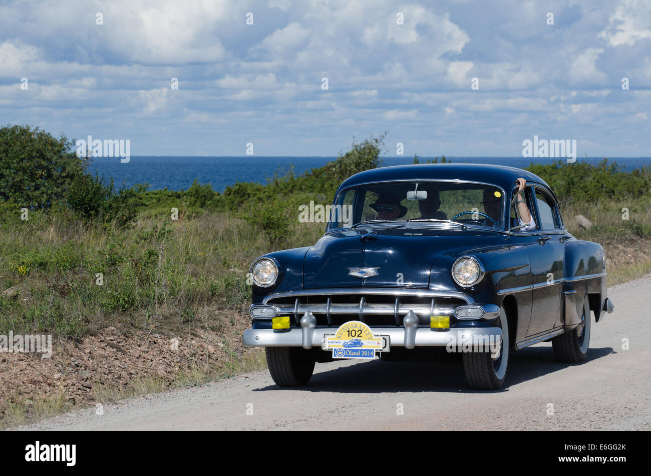 1954 Chevrolet Bel Air Stock Photos In Oldtimer Rally At The Island Land Sweden