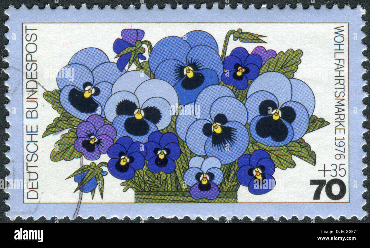 GERMANY - CIRCA 1976: Postage stamp printed in Germany, shows a flowering Viola tricolor, circa 1976 Stock Photo