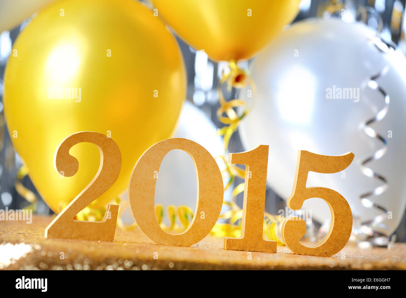New Year 2015 decoration with balloon - Stock Image