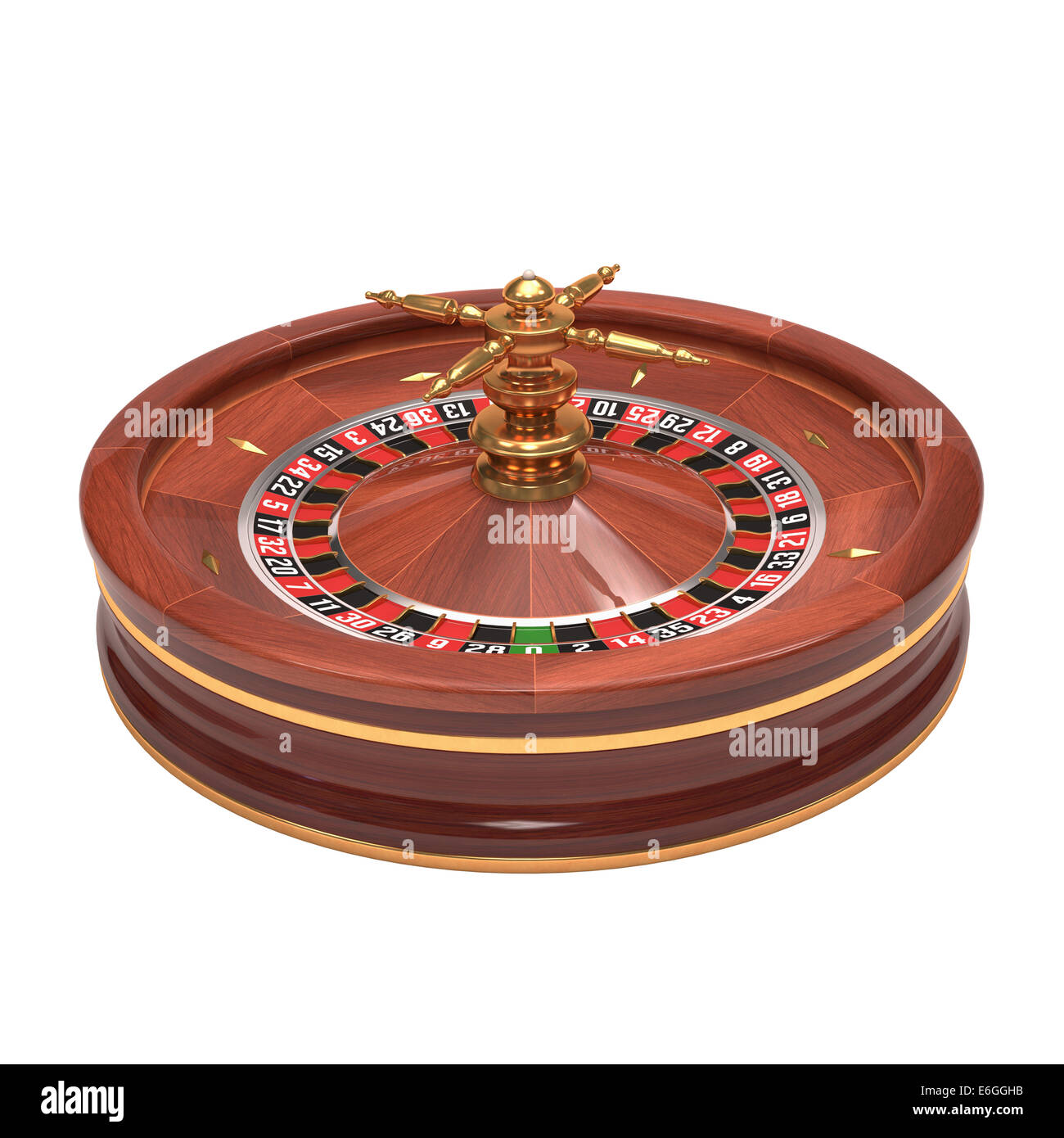 Roulette gambling on white background. Clipping path included. - Stock Image