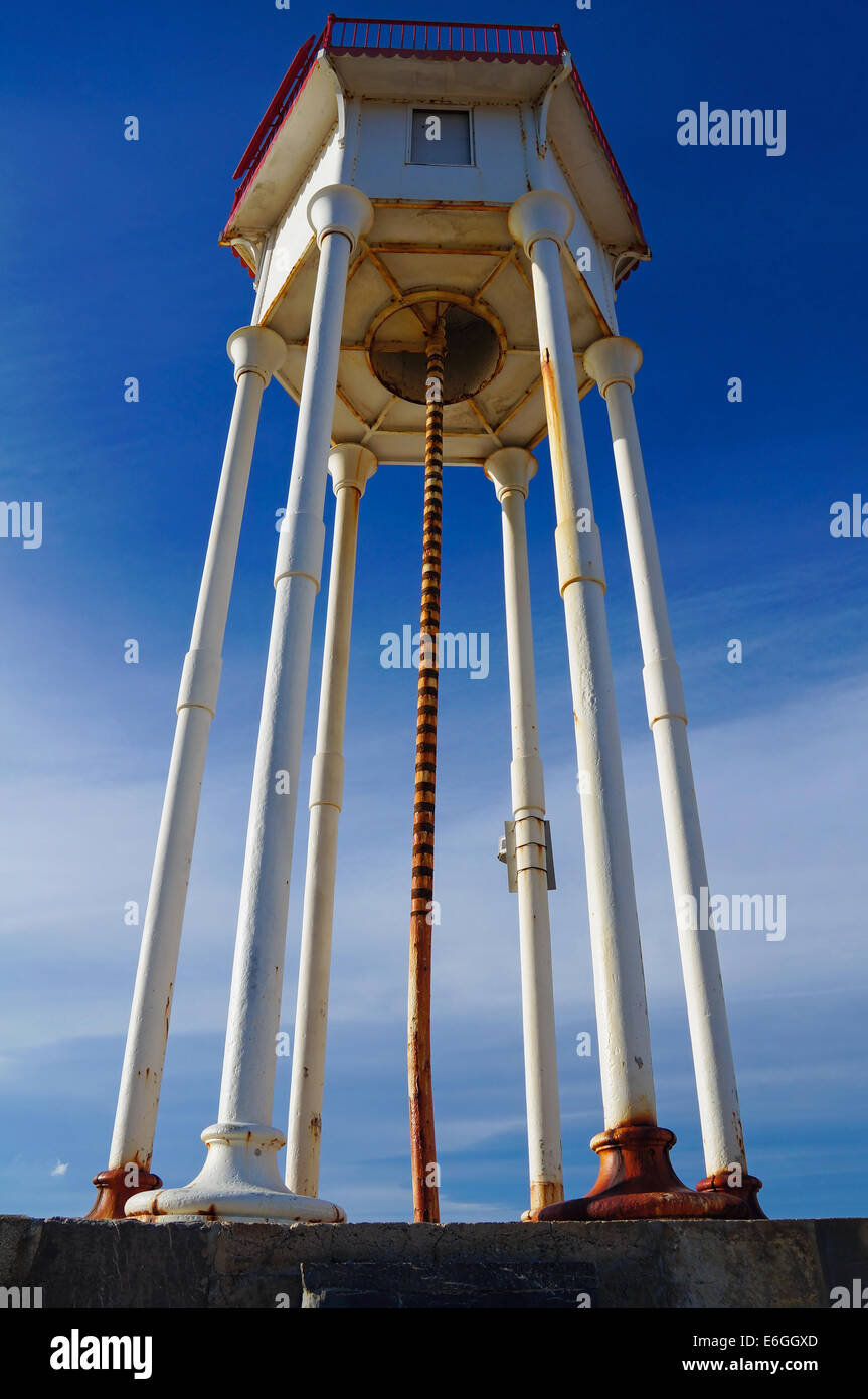 lighthouse viewed from below, Port-Vendres, Roussillon, Pyrenees Orientales, France - Stock Image