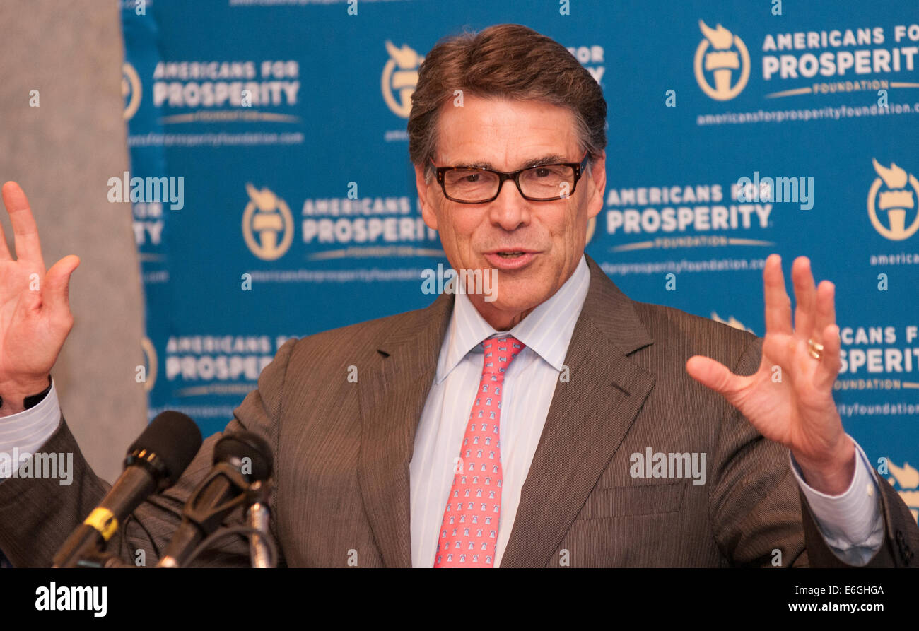 New Hampshire, USA. 22nd August, 2014. Texas Gov. Rick Perry Speaks in NH Credit:  Andrew Cline/Alamy Live News - Stock Image