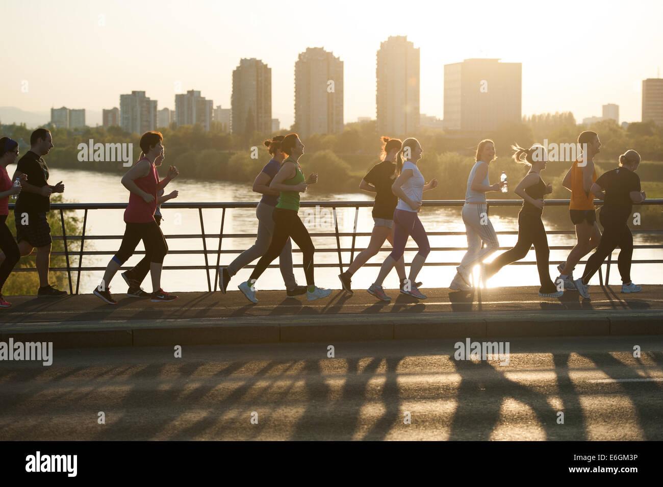 Running across the river Sava in Zagreb - Stock Image