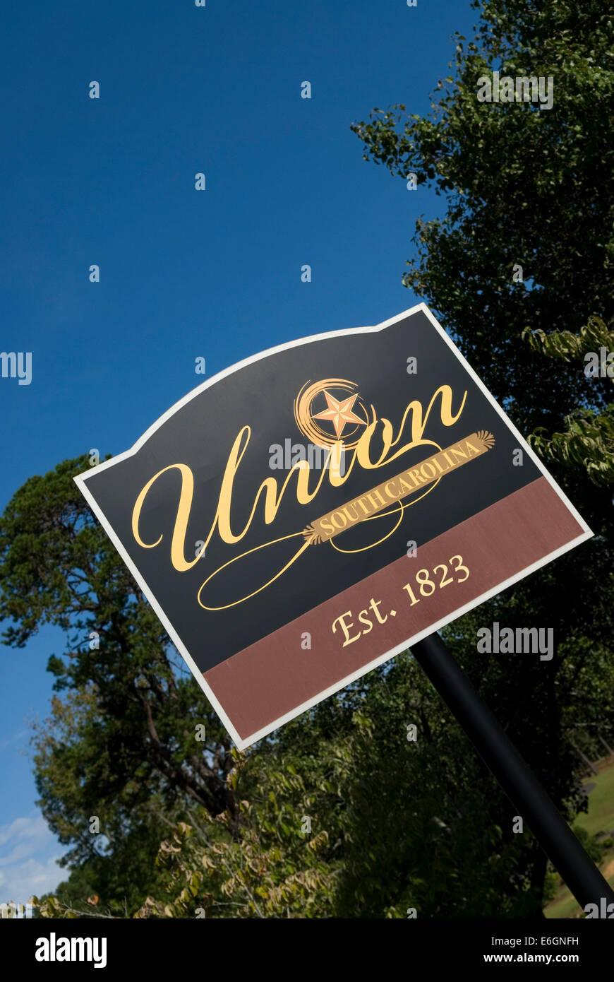 Union South Carolina Welcome Sign USA - Stock Image