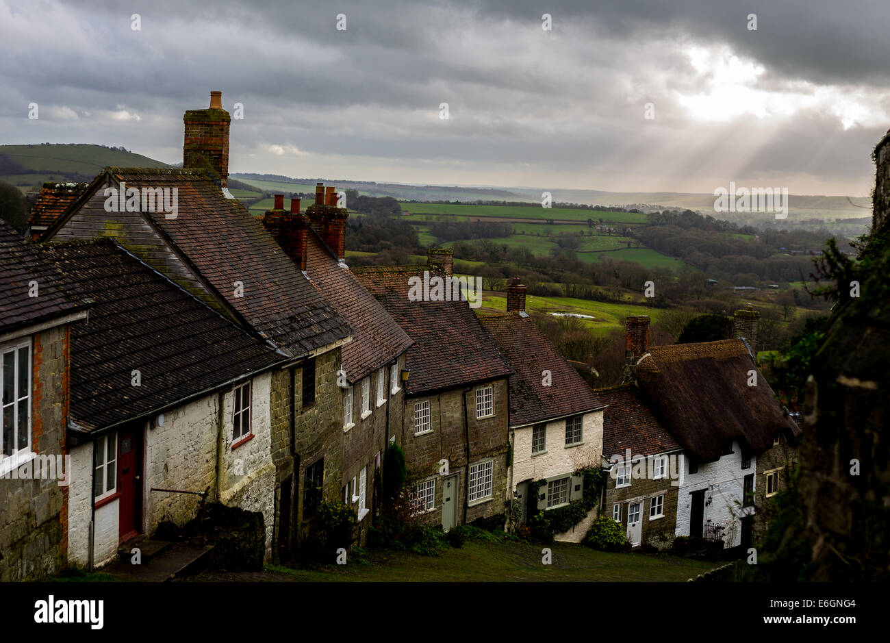 Old cottages on Gold Hill, Shaftesbury, Dorset, UK - Stock Image