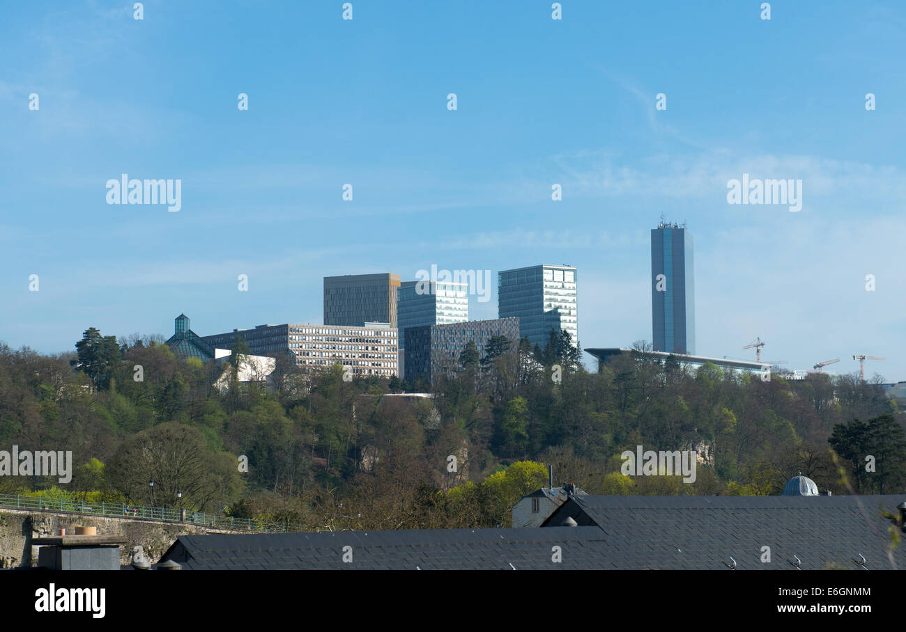 Kirchberg - a European quarter in north-eastern Luxembourg City. Court of Auditors, Court of Justice, European Investment - Stock Image