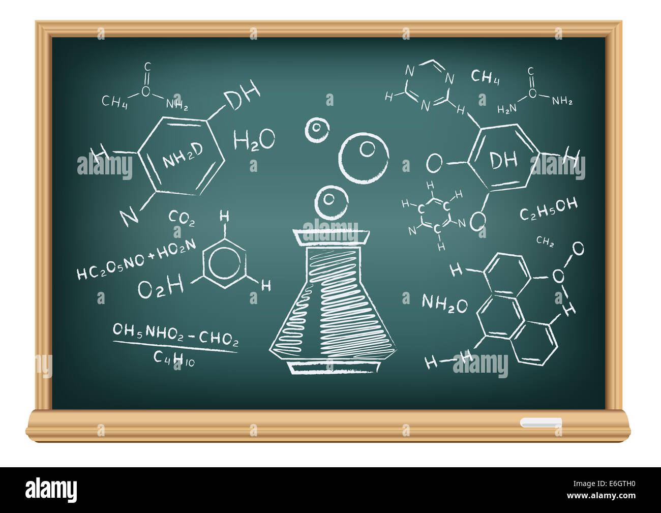 The school blackboard and chalk drawn chemical tube and formula - Stock Image