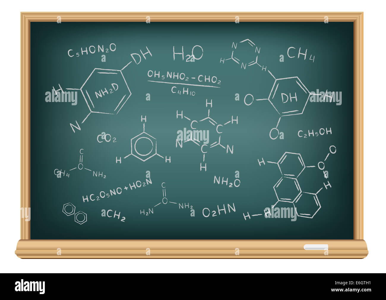 The school blackboard and chalk drawn chemical formula - Stock Image