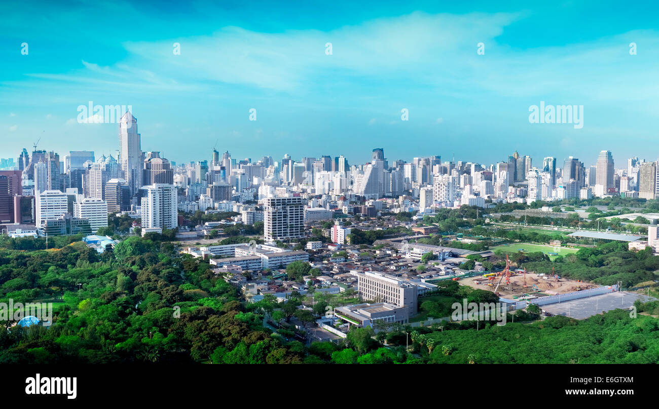 Overview of the financial districts with bank headquarters, financial institutions and office buildings in Bangkok - Stock Image