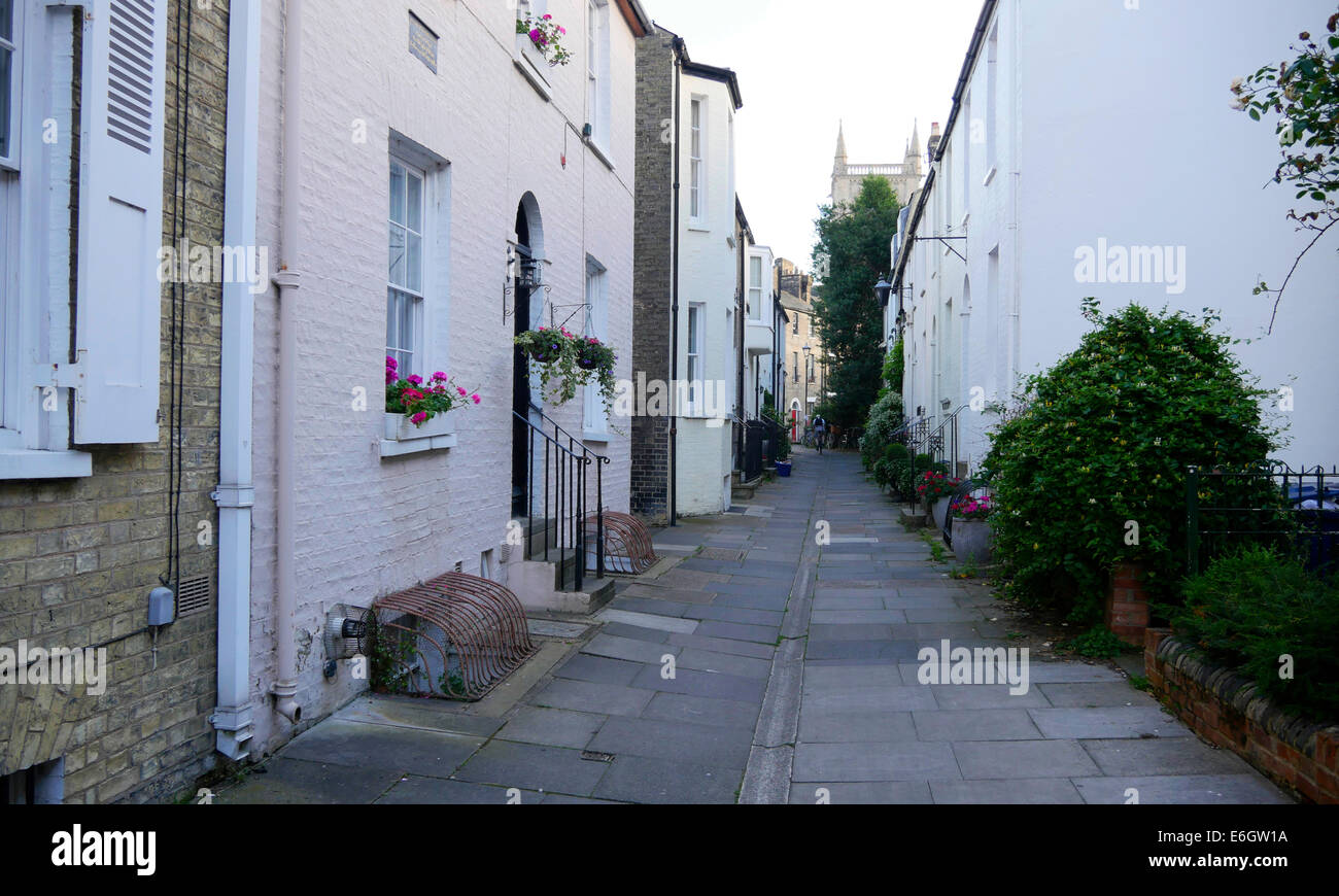 Terraced period houses in Cambridge England - Stock Image