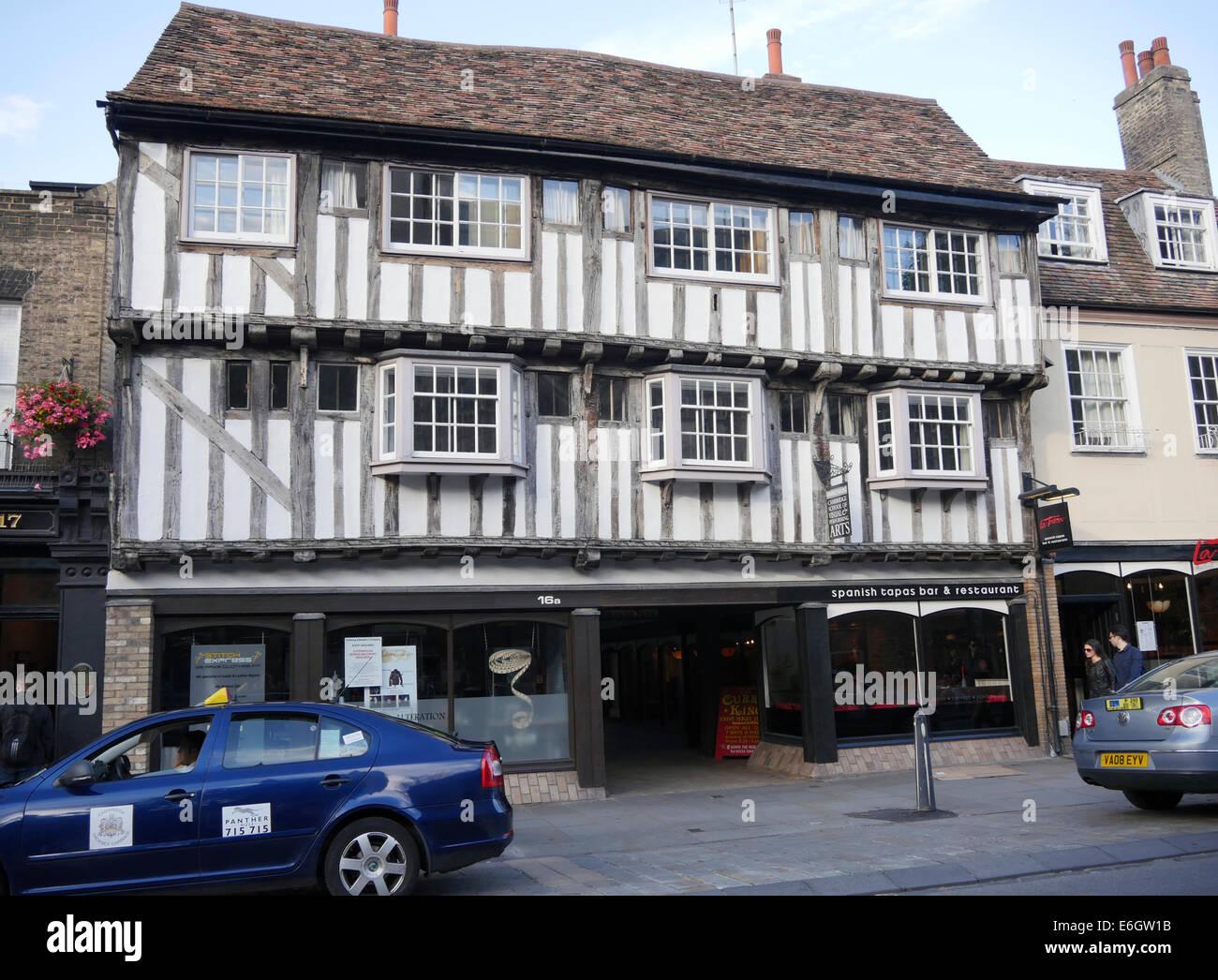 La Tasca Tapas restaurant in 16th century timber framed house, Bridge Street Cambridge - Stock Image