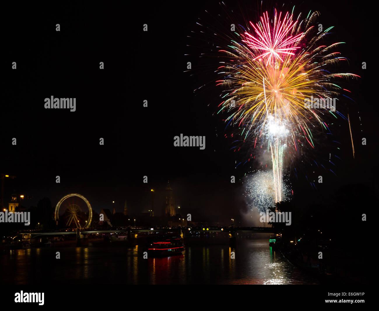 Firework over Frankfurt am Main, Hessen, Germany - Stock Image
