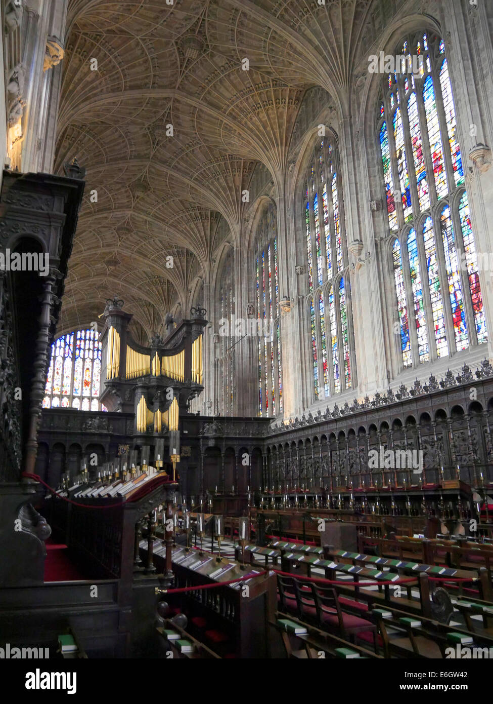 interior of kings college chapel cambridge england, showing the chapel organ - Stock Image
