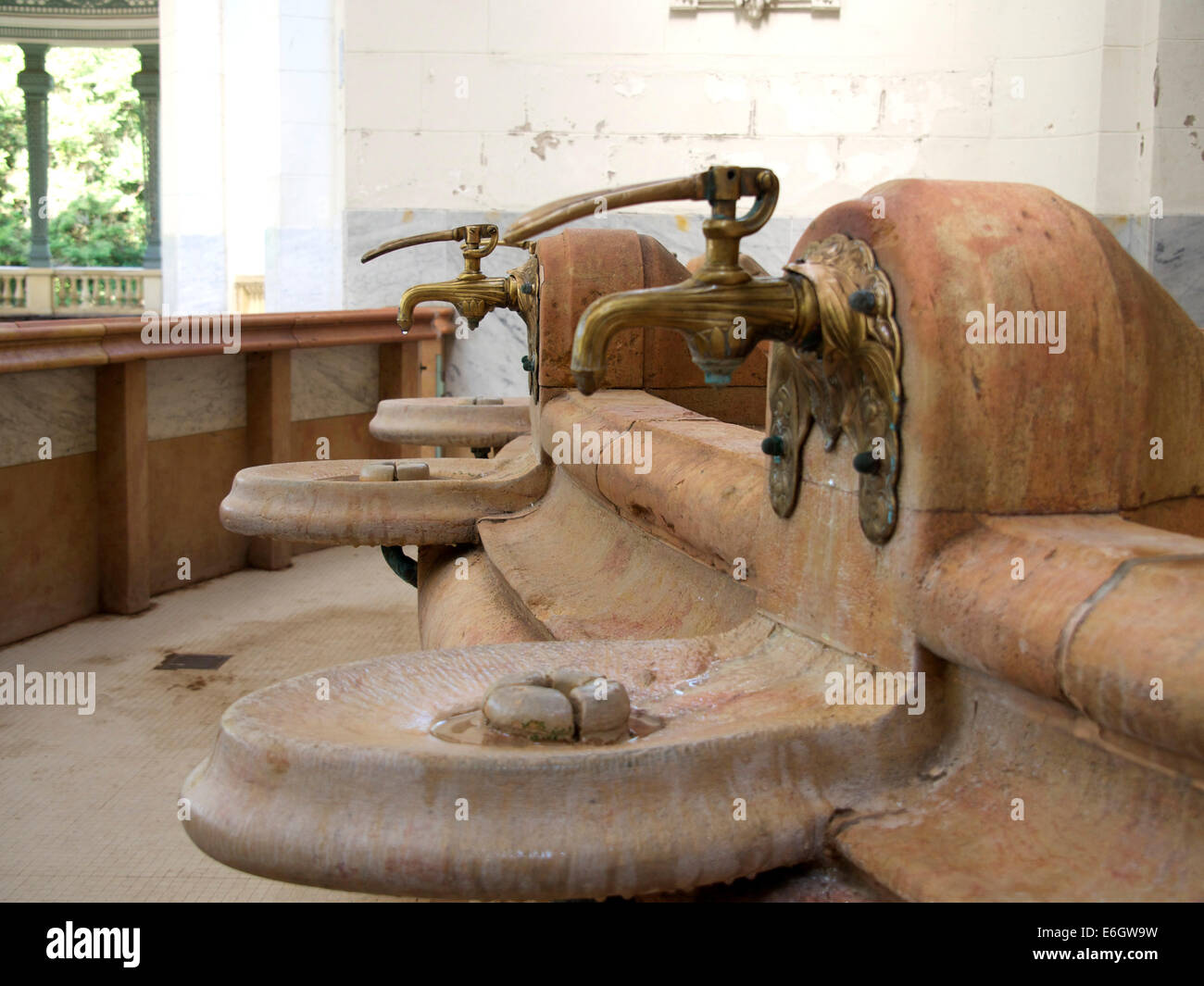 Spring water taps in the Source des Celestins, Vichy, Allier, France - Stock Image
