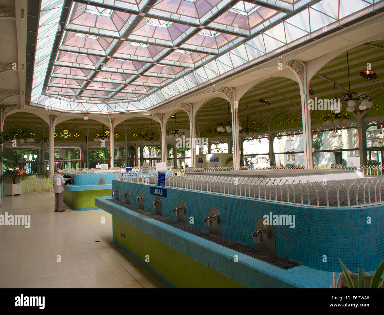 Water taps in the Halle des Sources at Vichy thermal spa, Auvergne, France, Europe - Stock Image
