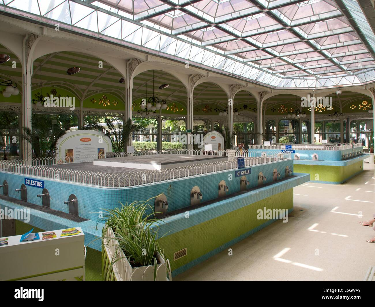 Fountain of celestine spring in thermal spa and resort of Vichy, Auvergne, France, Europe Stock Photo