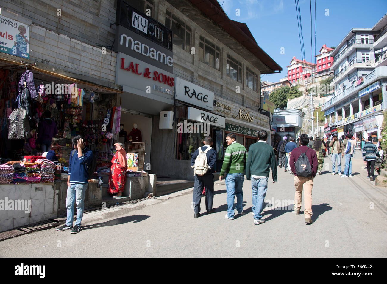 Shopping in Mall Road in Shimla, a popular tourist attraction in Himachal Pradesh,India - Stock Image