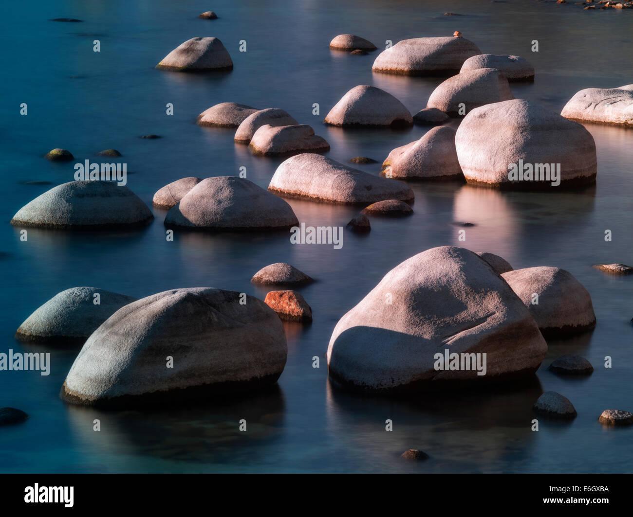 Boulder rocks on shoreline of Chimney Beach. Lake Tahoe, Nevada - Stock Image