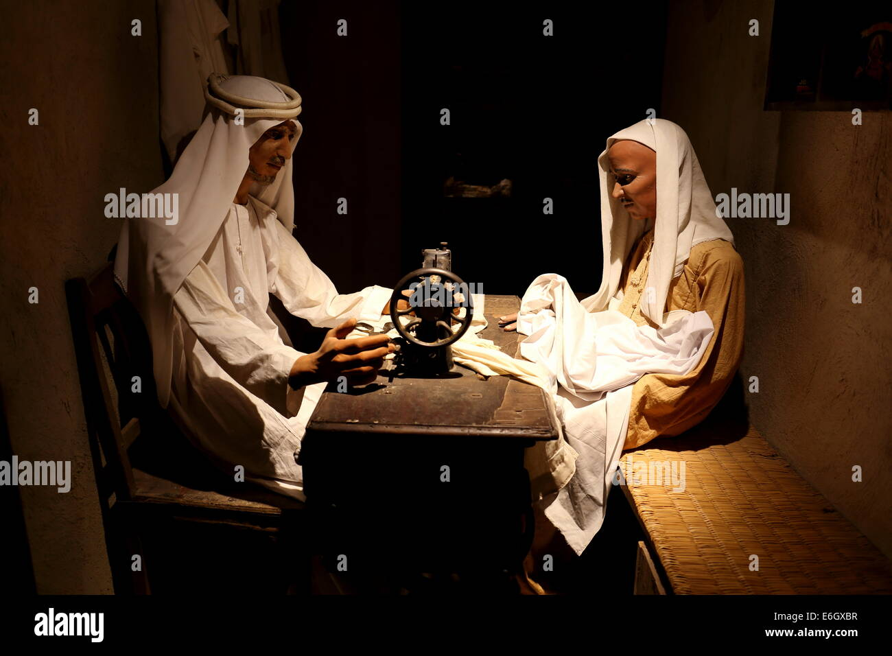 Diorama of a Bahraini tailor at The Bahrain National Museum, Manama, Kingdom of Bahrain - Stock Image