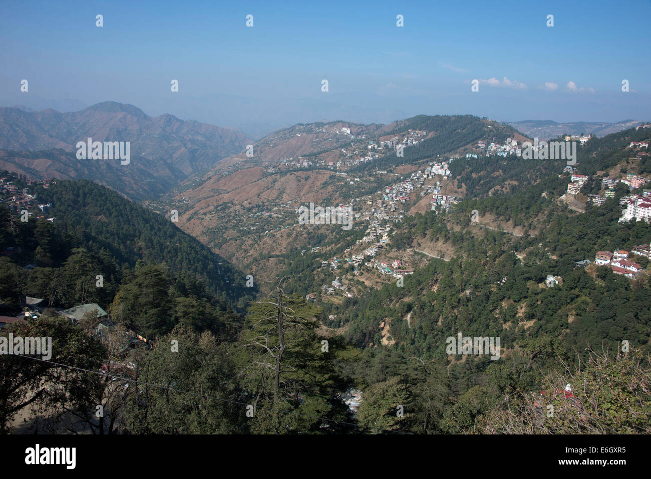 Shimla is a large city with a sprawling population of over a million scattered on the  foothills in Himachal Pradesh,India. - Stock Image