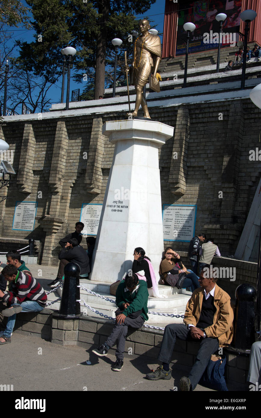 A golden statue of Mahatma Gandhi,The Father of The Nation - 1869-1948 on the Ridge in Shimla, Himachal Pradesh,India - Stock Image