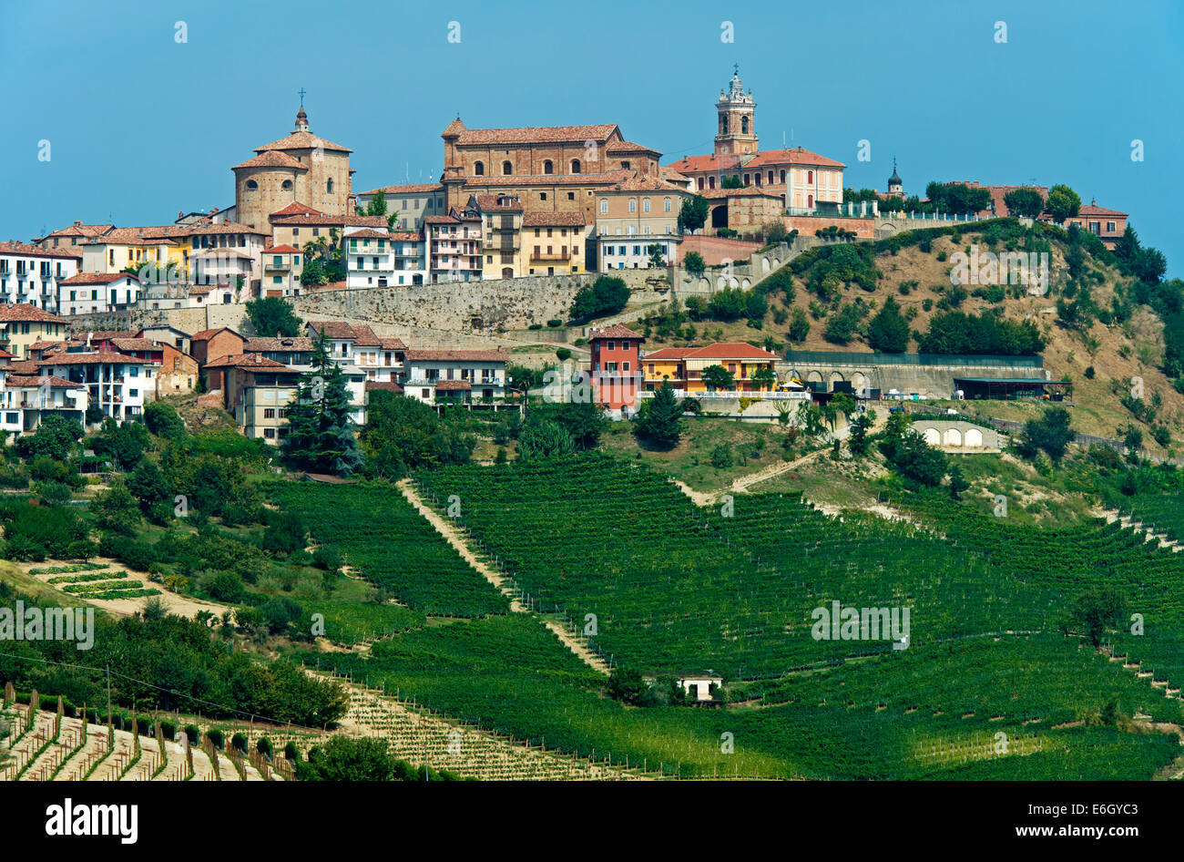 View at La Morra, Langhe, Piedmont, Italy - Stock Image