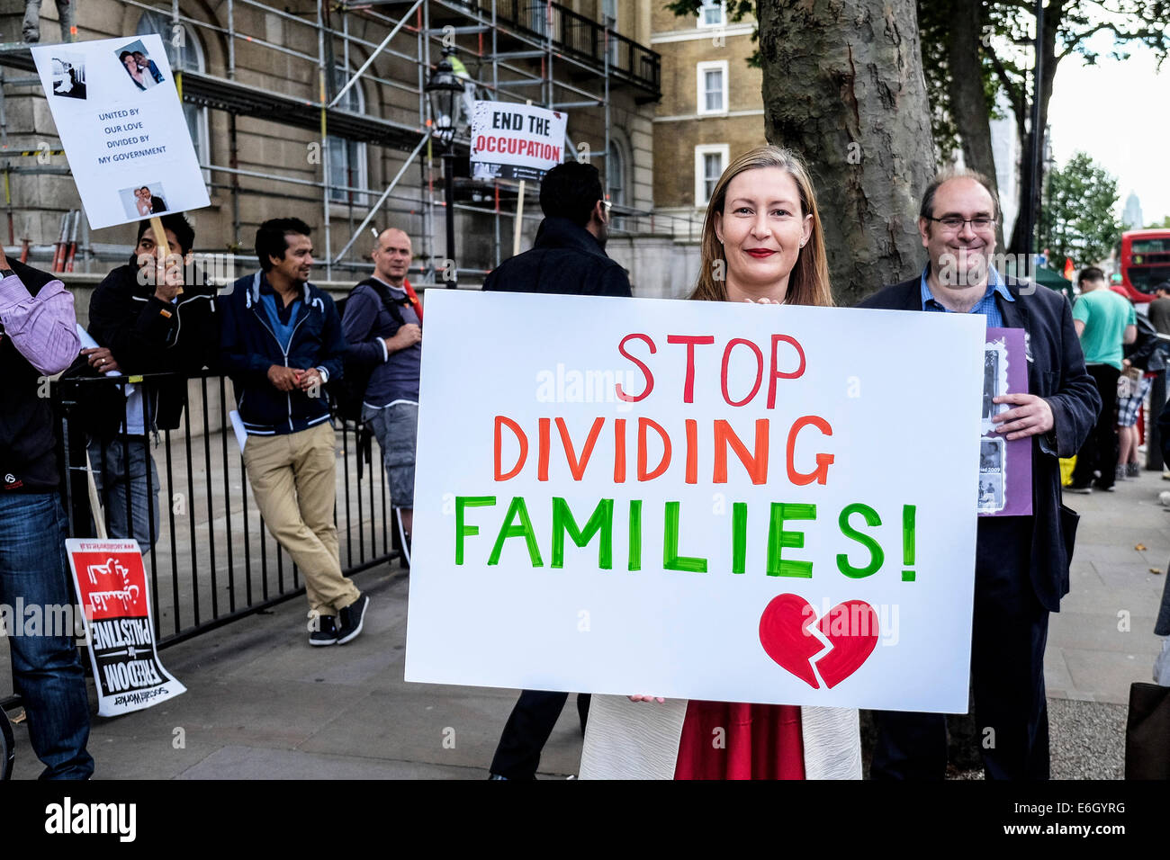 London, UK. 23rd August, 2014.  Demonstrators protesting against government rules on family migration.  These rules - Stock Image