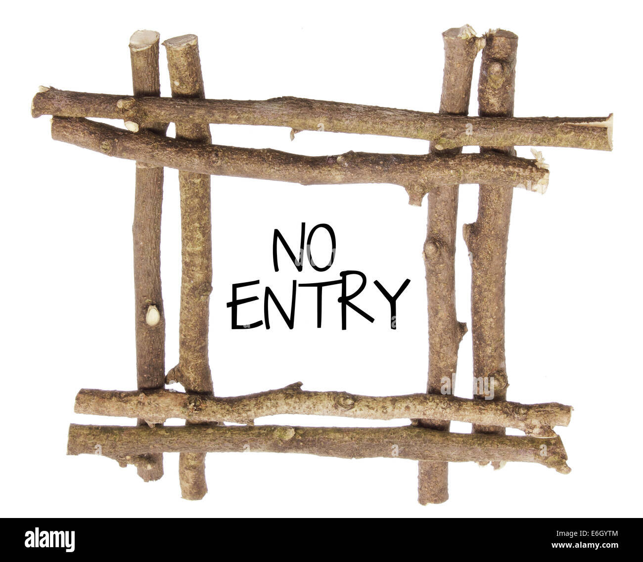 No Entry Sign with Twigs - Stock Image