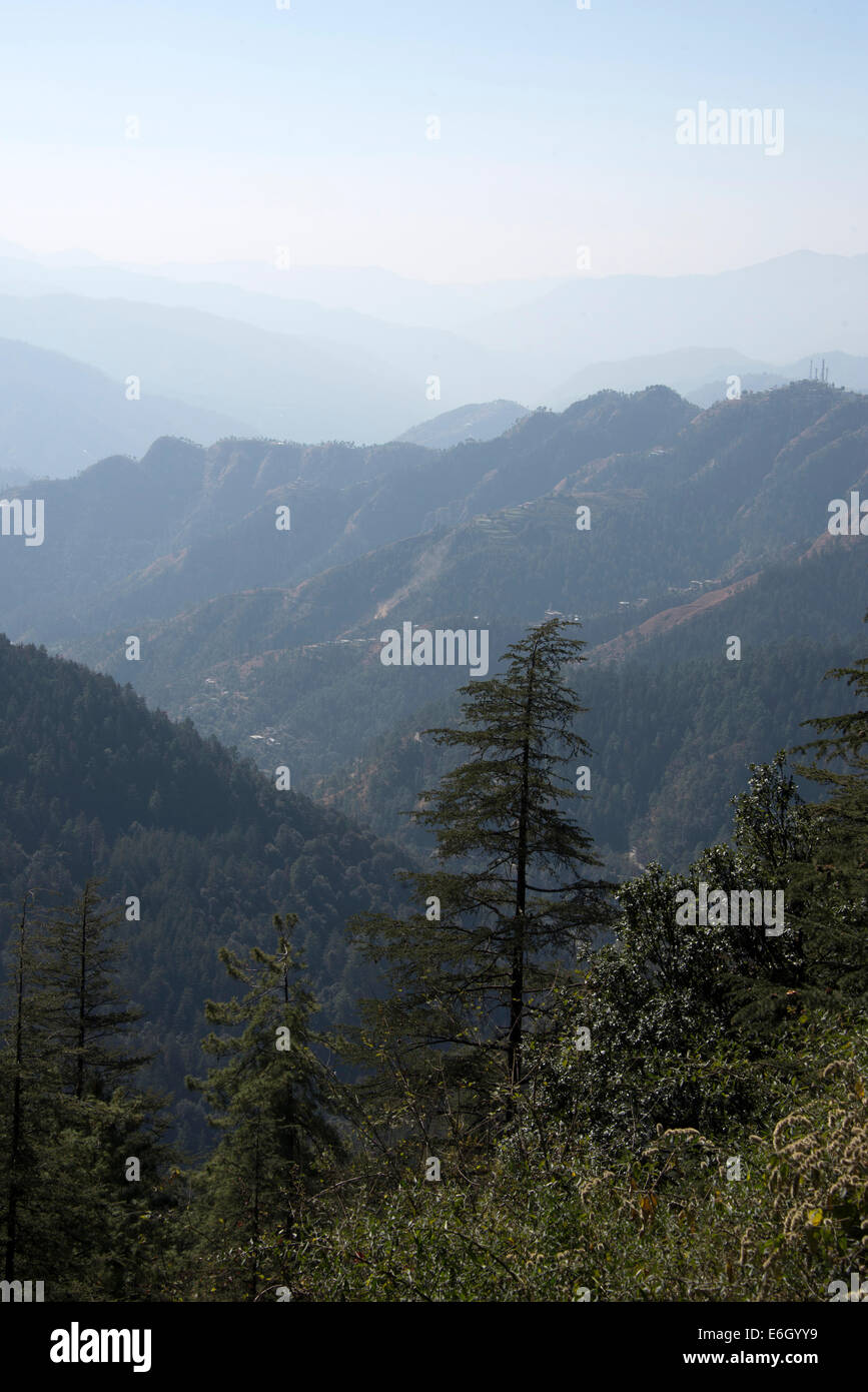 The distant views of the Himalayan foothills in Himachal Pradesh in India - Stock Image
