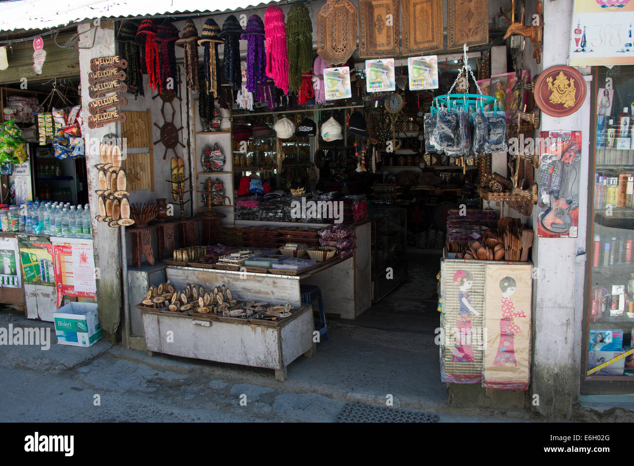 A row of local Himachal souvenirs on sale at the tiny hill station of Kurfri in  Himachal Pradesh in India - Stock Image